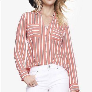Express Pink White & Black Stripe Portofino Shirt
